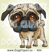 Vector Clip Art of a Cute and Friendly Pug Dog Looking Outwards by Tonis Pan
