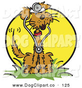 Vector Clip Art of a Cute and Happy Brown Dog Sitting in Grass and Wearing a Stethoscope by Andy Nortnik