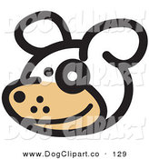 Vector Clip Art of a Cute and Happy Dog with a Spot over His Eye by Andy Nortnik