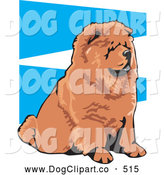 Vector Clip Art of a Cute and Obedient Brown Chow Chow Dog with a Black Tongue, Seated and Facing Right, on a Blue and White Background by David Rey