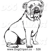 Vector Clip Art of a Cute and Obedient Bulldog Canine Seated, over a White Background by David Rey