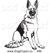 Vector Clip Art of a Cute and Obedient German Shepherd Dog Seated and Waiting for a Command by David Rey