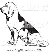 Vector Clip Art of a Cute and Seated Bloodhound, or St. Hubert Hound, in Profile, Facing to the Left by David Rey