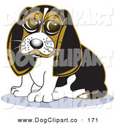 Vector Clip Art of a Cute Beagle Dog with Puppy Eyes Sitting and Looking Forward by Andy Nortnik