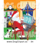 Vector Clip Art of a Cute Black and White Puppy Seated Beside Santa Claus As He Checks His Email on a Family by Maria Bell