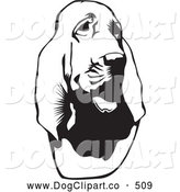 Vector Clip Art of a Cute Bloodhound, or St. Hubert Hound, Looking Slightly to the Right, on a White Background by David Rey