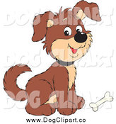November 4th, 2014: Vector Clip Art of a Cute Brown Puppy Dog with a Bone at His Feet by Alex Bannykh