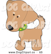 Vector Clip Art of a Cute Brown Retriever Puppy Dog Wearing a Green Collar with Yellow Spots, Slightly Tilting His Head in Curiousity by Maria Bell