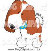 Vector Clip Art of a Cute Cavalier King Charles Spaniel Puppy Dog Wearing a Blue Collar with Yellow Spots, Tilting His Head in Curiousity and Walking Forward by Maria Bell
