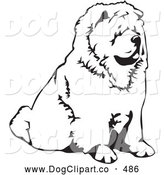 Vector Clip Art of a Cute Chow Chow Dog Sitting and Facing to the Right, over a White Background by David Rey
