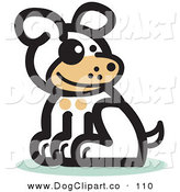 Vector Clip Art of a Cute Dog Sitting and Looking to the Right by Andy Nortnik
