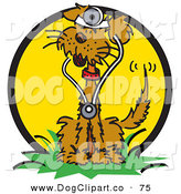 Vector Clip Art of a Cute Dog Wearing a Stethoscope and Sitting on Grass by Andy Nortnik