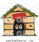 Vector Clip Art of a Cute Dog's Eyes in a Dog House Clipart Illustration by Andy Nortnik