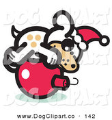 Vector Clip Art of a Cute Festive Dog Wearing a Santa Hat and Lying on a Red Christmas Bauble Ornament by Andy Nortnik