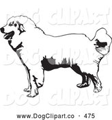 Vector Clip Art of a Cute Friendly Great Pyrenees Mountain Dog in Profile, Facing to the Left, on a White Background by David Rey