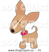Vector Clip Art of a Cute Little Beige Chihuahua Puppy Dog Wearing a Pink Collar with Yellow Spots, Tilting His Head in Curiousity by Maria Bell