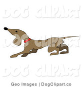 Vector Clip Art of a Cute Little Brown Dachshund Dog Facing Left by AtStockIllustration