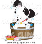 Vector Clip Art of a Cute Little Dalmatian Puppy Dog with a White Base and Black Spots in a Wooden Tub by Maria Bell