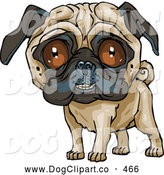 Vector Clip Art of a Cute Little Pug Dog Grinning at the Viewer by Tonis Pan