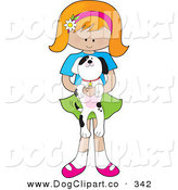 Vector Clip Art of a Cute Little Red Haired Girl in a Skirt, with a Daisy Flower on Her Pink Headband, Holding an Adorable Black and White Dalmatian Puppy in Her Arms by Maria Bell