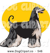 Vector Clip Art of a Cute Long Haired Afghan Hound Dog, Standing Proudly in Profile, Facing to the Right over a Yellow Oval on a White Background by David Rey