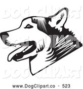 Vector Clip Art of a Cute Panting Husky Dog in Profile, over a White Background by David Rey