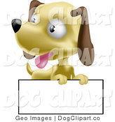 Vector Clip Art of a Cute Panting Little Hound Dog Puppy with a Blank Sign by AtStockIllustration