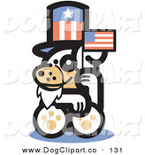 Vector Clip Art of a Cute Patriotic Dog Disguised As Uncle Sam, Waving a Flag on Independence Day by Andy Nortnik