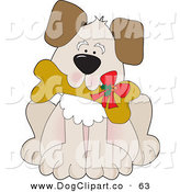Vector Clip Art of a Cute Puppy Dog Carrying a Dog Biscut with a Christmas Bow on It on White by Maria Bell