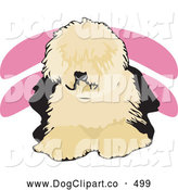 Vector Clip Art of a Cute Shaggy Brown and Black Old English Sheepdog, or Dulux Dog, Lying down and Facing Front by David Rey