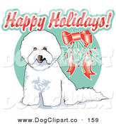 Vector Clip Art of a Cute White Bichon Frise Dog Sitting Under Mistletoe at Christmas by Andy Nortnik