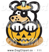 Vector Clip Art of a Cute White Dog Sitting Inside a Halloween Pumpkin by Andy Nortnik