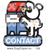 Vector Clip Art of a Cute White Dog Standing on His Hind Legs to Mail a Letter on a Contact Internet Web Icon by Andy Nortnik