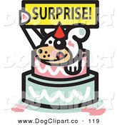 Vector Clip Art of a Cute White Pet Dog Holding a Surprise Sign and Popping out of a Birthday Cake on White by Andy Nortnik