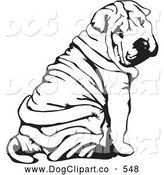 Vector Clip Art of a Cute Wrinkled Chinese Shar Pei Dog, Sitting and Looking Back over His Shoulder by David Rey