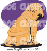 Vector Clip Art of a Cute Wrinkled Tan Shar Pei Dog Seated and Looking Back over His Shoulder by David Rey