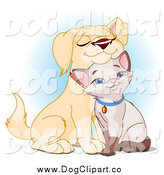 Vector Clip Art of a Cute Yellow Lab Puppy Cuddling with a Siamese Kitten by Pushkin