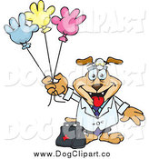 Vector Clip Art of a Doctor Dog with Colorful Hand Shaped Balloons by Dennis Holmes Designs