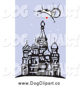 Vector Clip Art of a Dog Leaping over a Red Star and a Mosque by Xunantunich