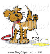 Vector Clip Art of a Dog on a Leash, Lifting His Leg to Urinate by Andy Nortnik