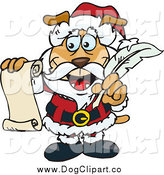 Vector Clip Art of a Dog Santa Holding a List and Quill by Dennis Holmes Designs