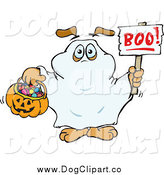 Vector Clip Art of a Dog Trick or Treating As a Ghost and Holding a Boo Sign by Dennis Holmes Designs