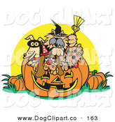 Vector Clip Art of a Dogs Inside a Jack O Lantern Pumpkin on Halloween by Andy Nortnik
