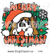Vector Clip Art of a Festive Christmas Saint Bernard Dog Wearing a Santa Hat by Andy Nortnik