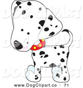 Vector Clip Art of a Friendly and Cute White and Black Spotted Dalmation Puppy Dog Wearing a Red Collar with Yellow Spots, Slightly Tilting His Head in Curiousity by Maria Bell