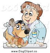October 28th, 2014: Vector Clip Art of a Friendly Brunette White Male Veterinarian Man Tending to a Dog with a Hurt Neck by Visekart