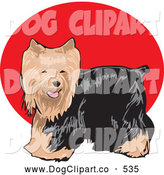Vector Clip Art of a Friendly Cute Long Haired Brown and Black Yorkshire Terrier Dog, or Yorkie by David Rey