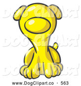 Vector Clip Art of a Friendly Cute Yellow Puppy Dog Looking Curiously at the Viewer by Leo Blanchette