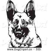 Vector Clip Art of a Friendly German Shepherd Dog Panting with His Tongue Hanging Out, Facing Front by David Rey