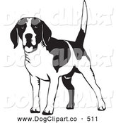 Vector Clip Art of a Friendly Happy Beagle Dog Wagging His Tail, on a White Background by David Rey